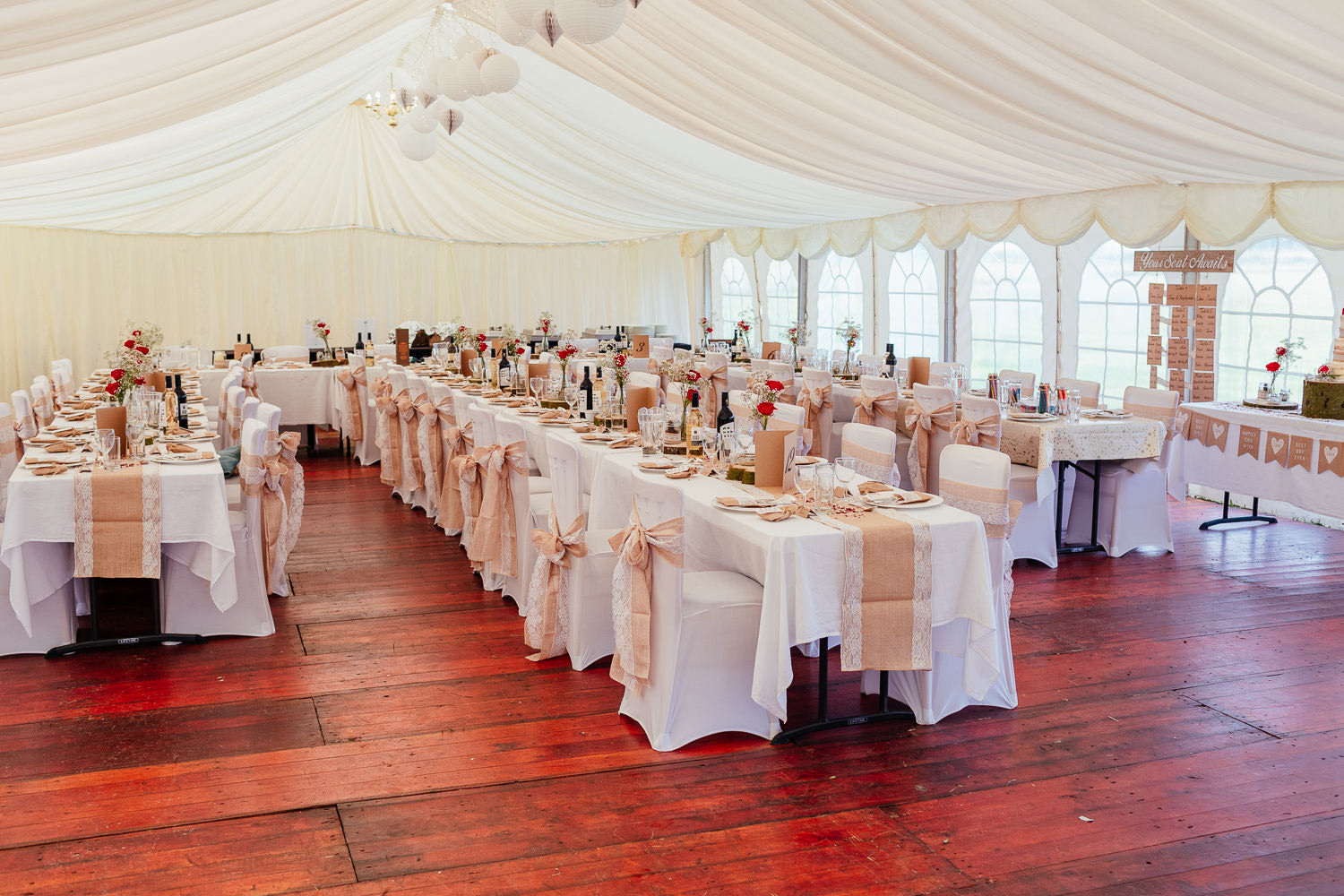 aberdeenshire farm wedding marquee reception dinner setup decor