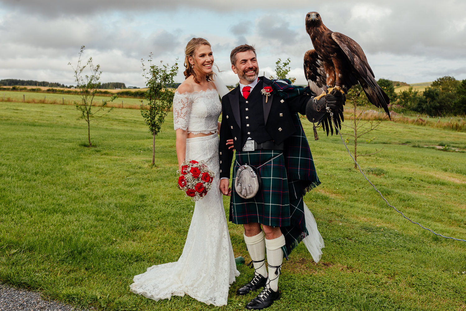 aberdeenshire farm wedding bride groom with eagle birds of prey display