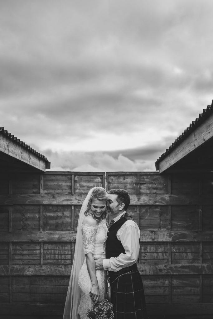 aberdeenshire farm wedding bride groom portrait