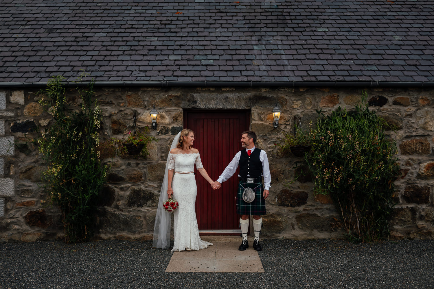 aberdeenshire farm wedding bride groom portrait outside front door