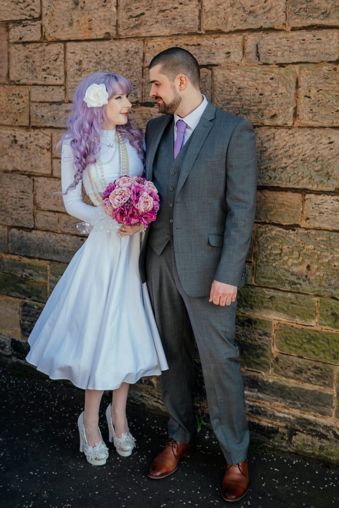 alternative bride purple hair 2 piece wedding dress