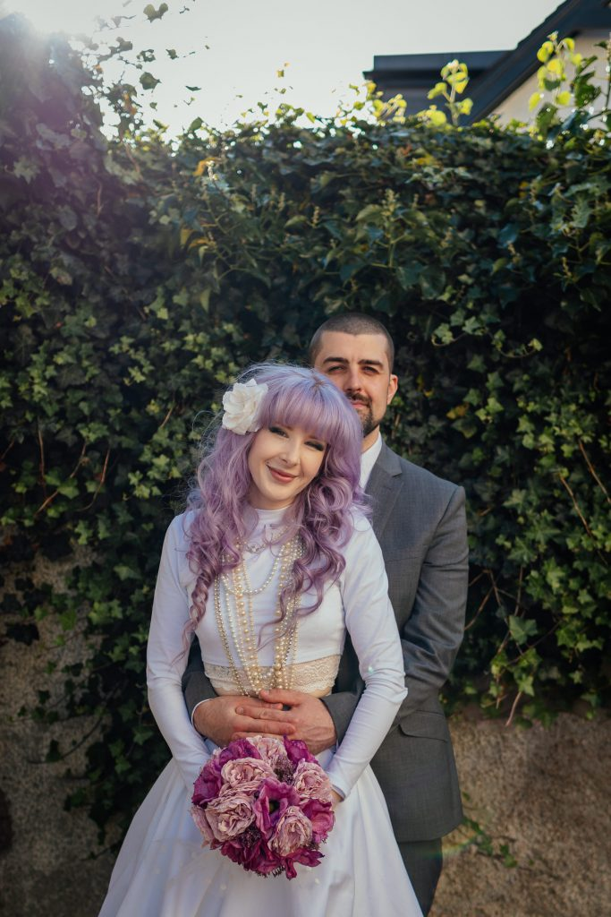 alternative bride purple hair two piece wedding dress micro wedding