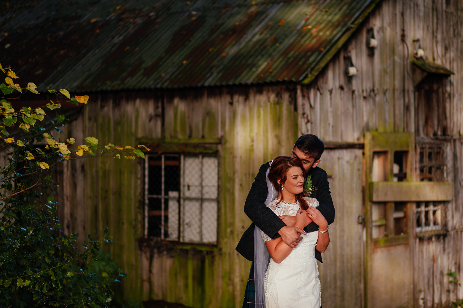 bunchrew house inverness wedding venue vintage huts in woods bridal portraits