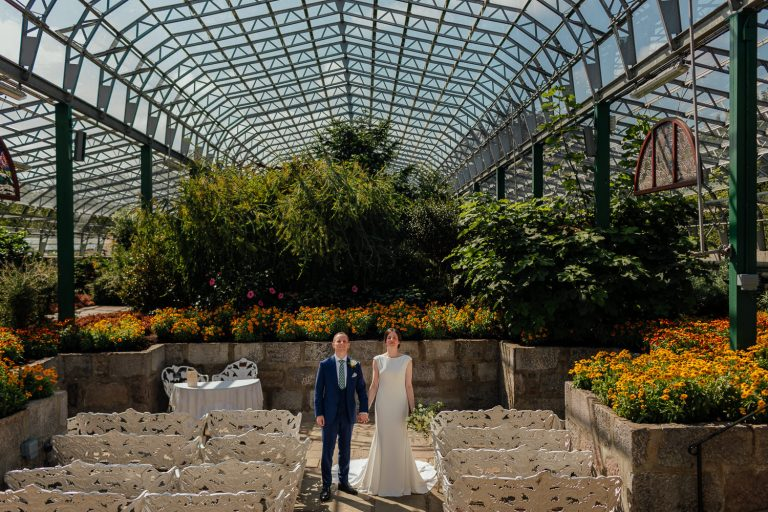 Duthie Park Wedding David Welch Winter Gardens Interior Inside Portraits Bride Groom