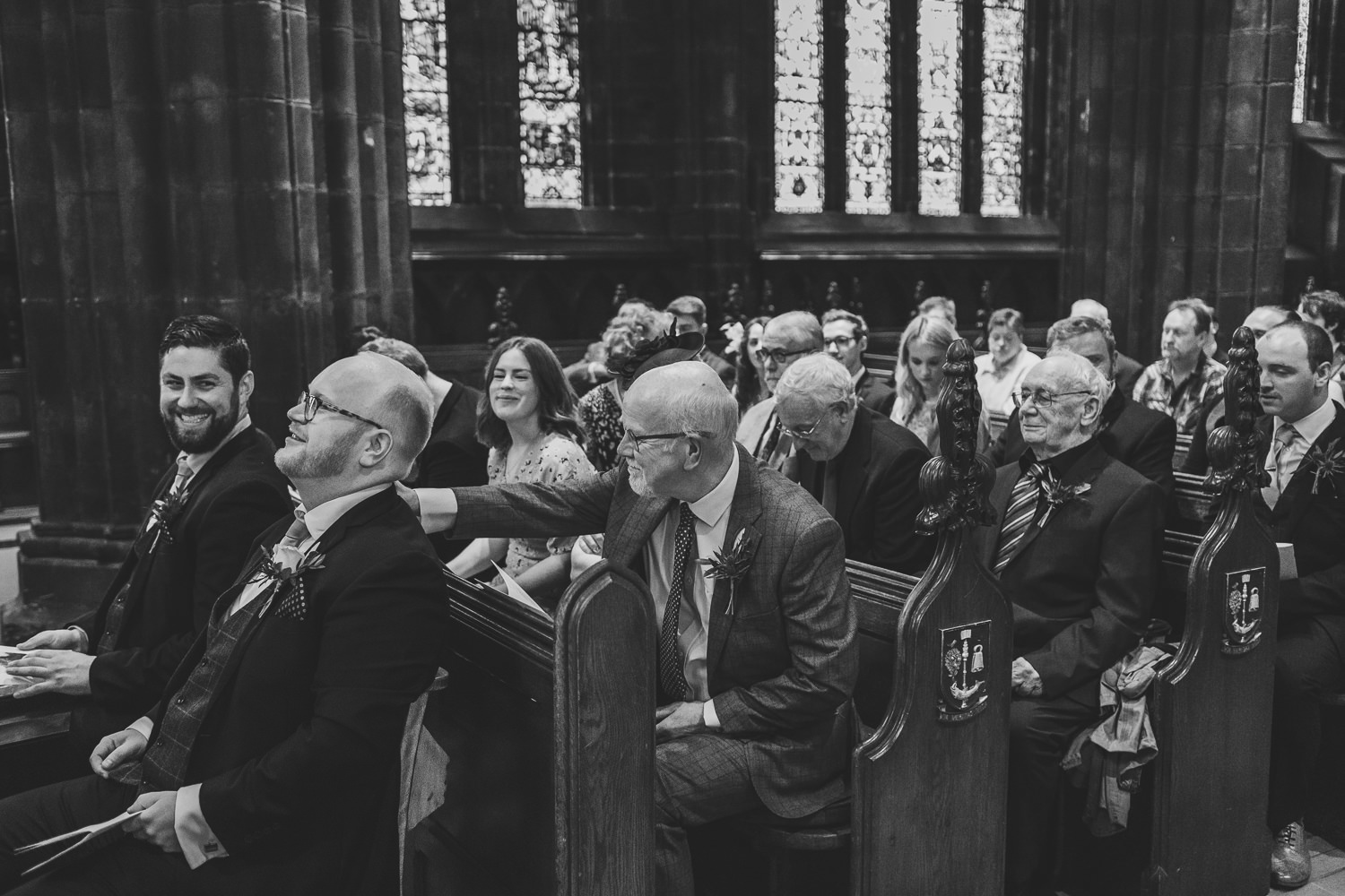 Glasgow Cathedral wedding groom waiting at start of ceremony