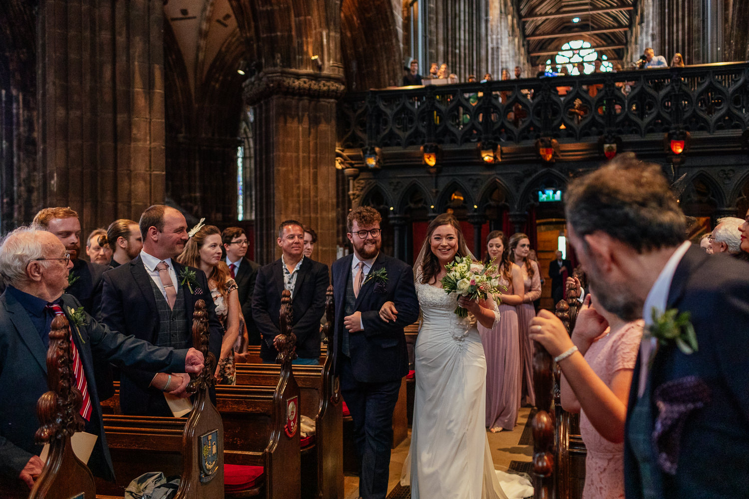 Glasgow Cathedral wedding bride walking down aisle