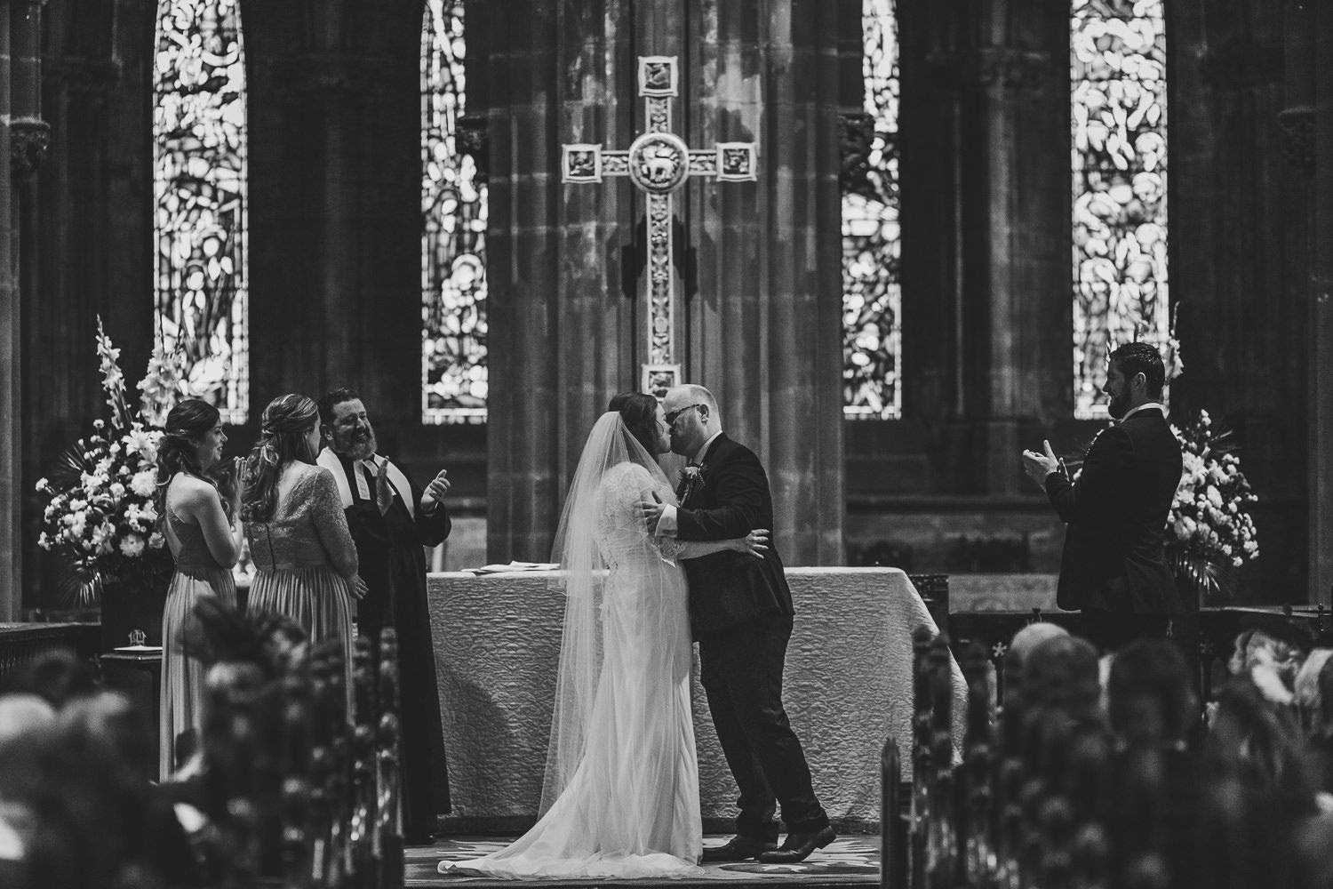 Glasgow Cathedral wedding ceremony bride groom first kiss