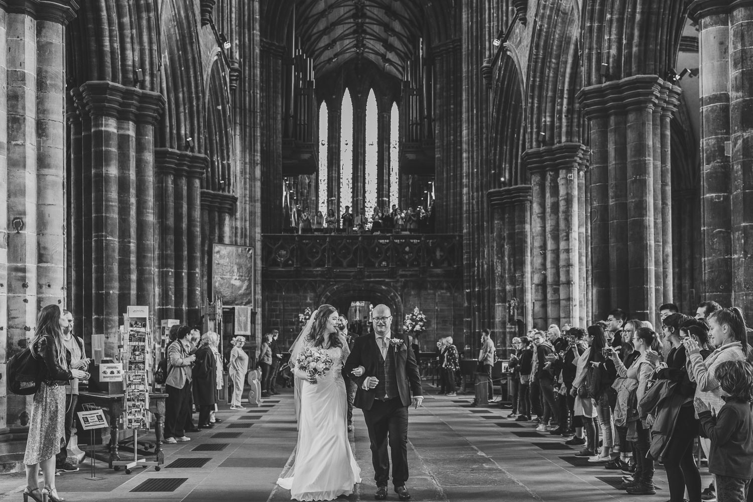 Glasgow Cathedral wedding bride groom leaving ceremony