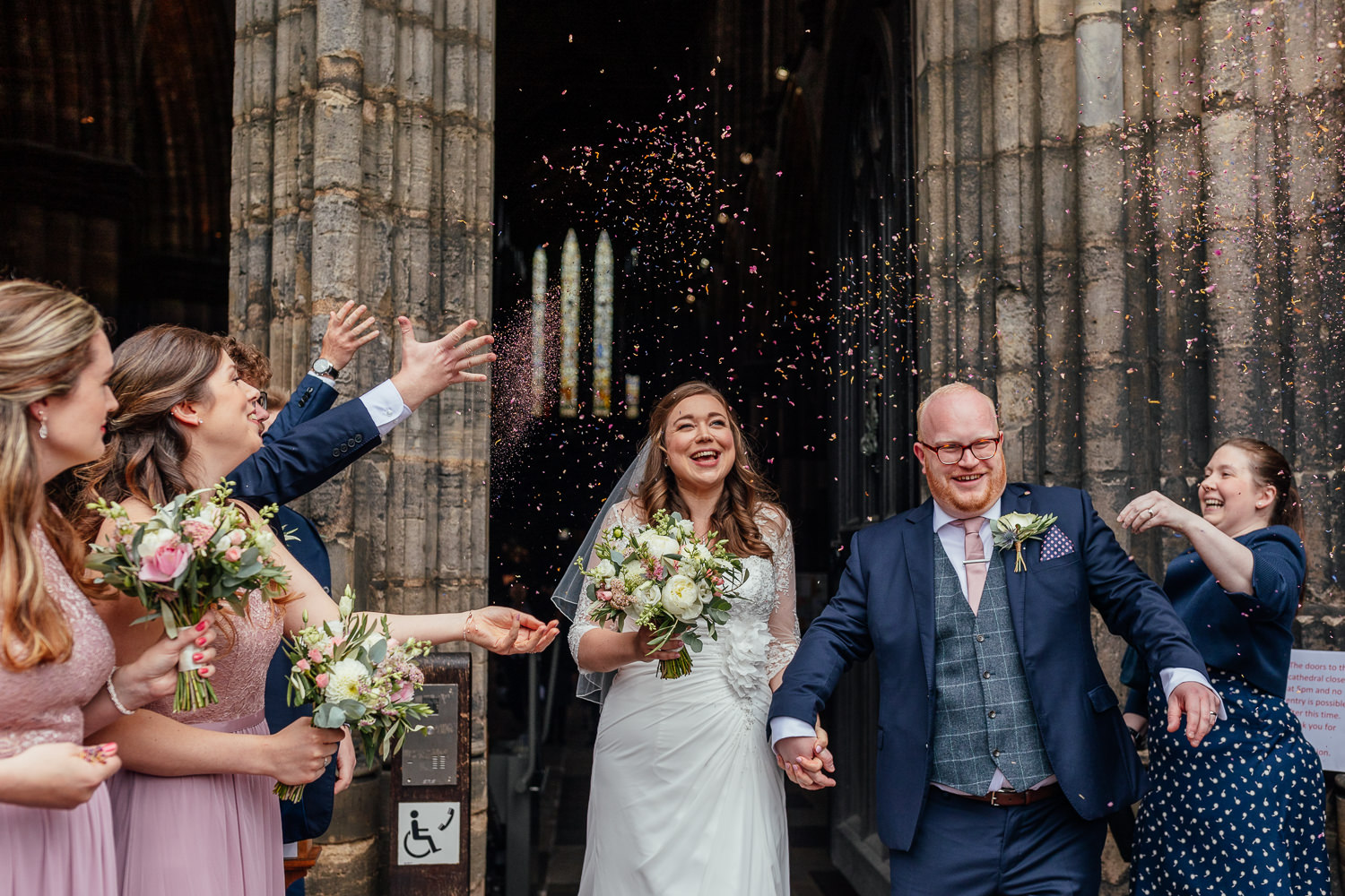 Glasgow Cathedral wedding bride groom confetti outside