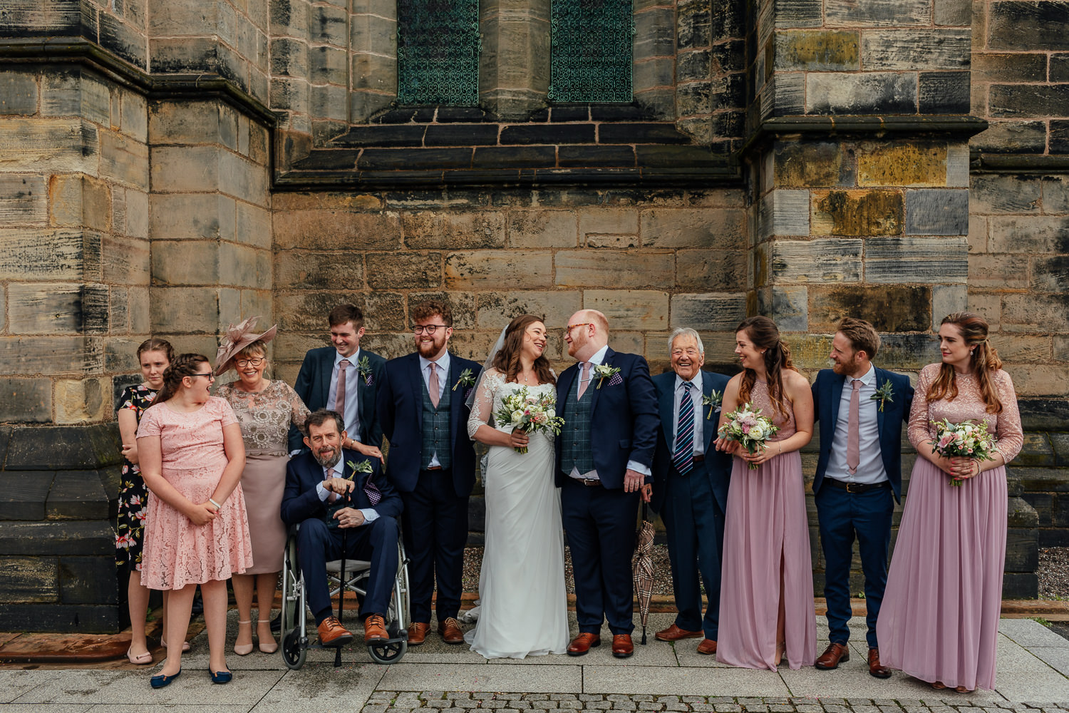 Glasgow Cathedral wedding bride groom family photo outside