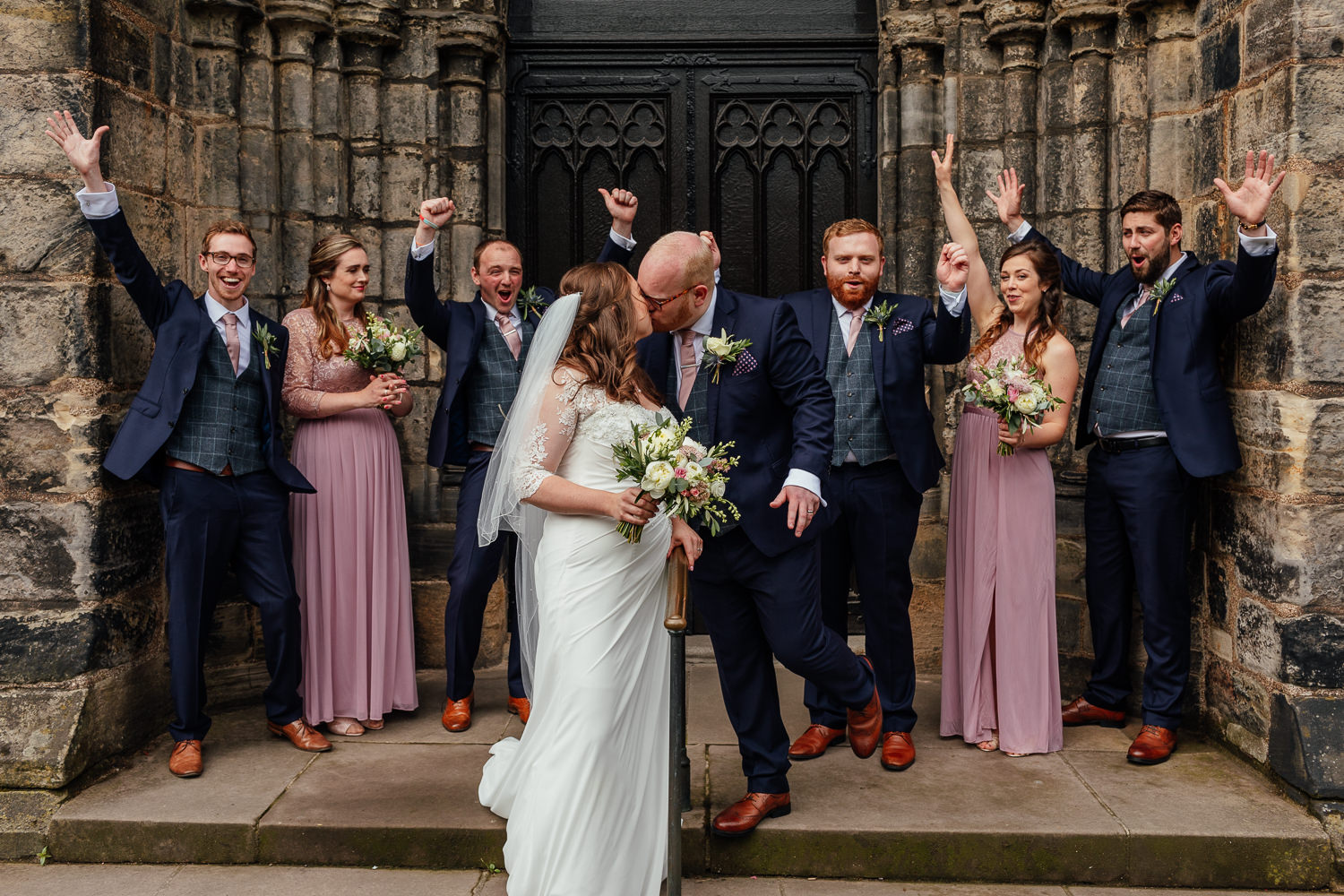 Glasgow Cathedral wedding bride groom bridal party group photo outside