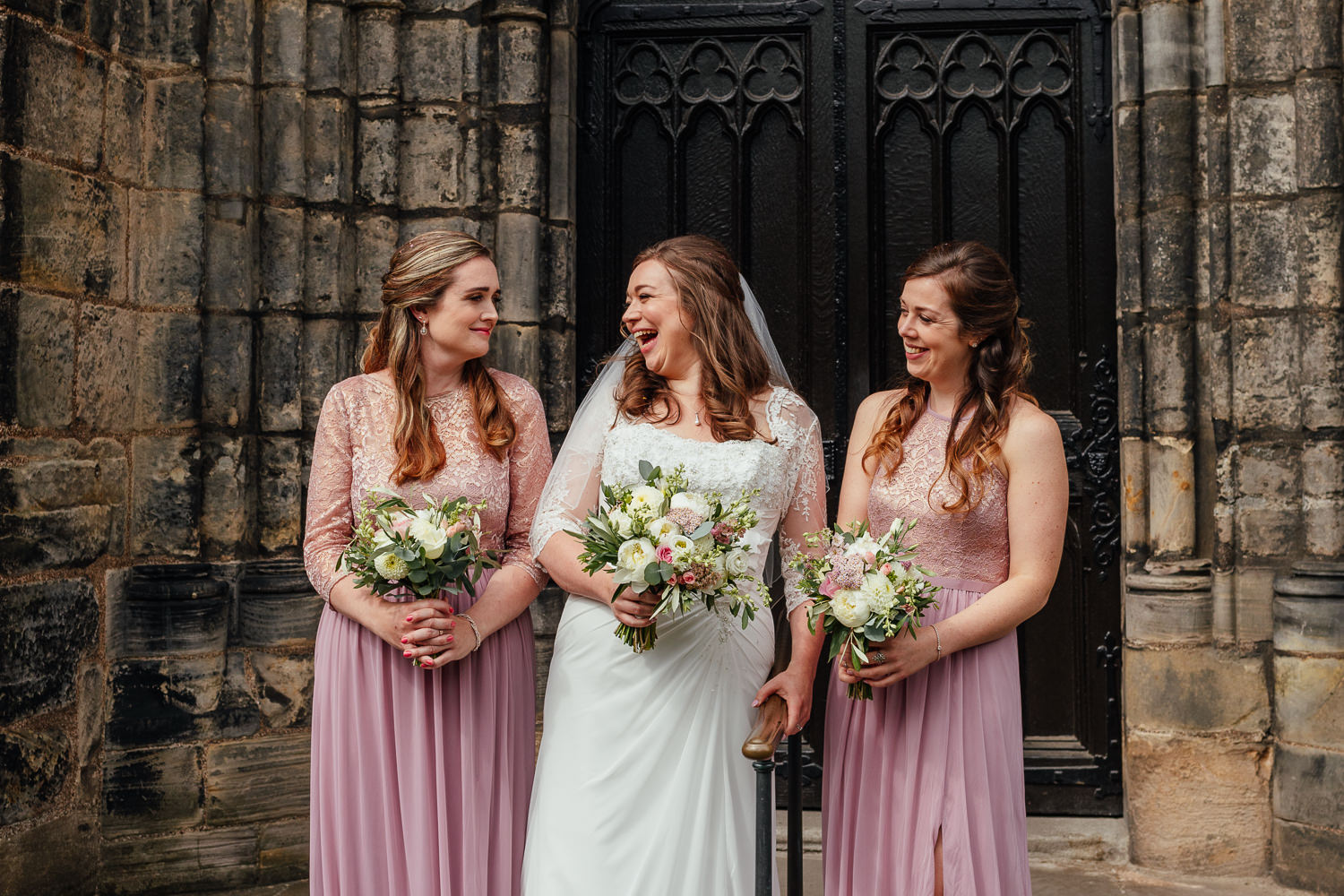 Glasgow Cathedral wedding bride bridal party group photo outside