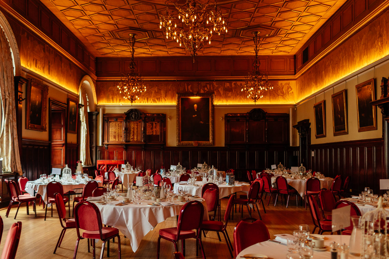 trades hall wedding reception glasgow interior inside dinner setup decor