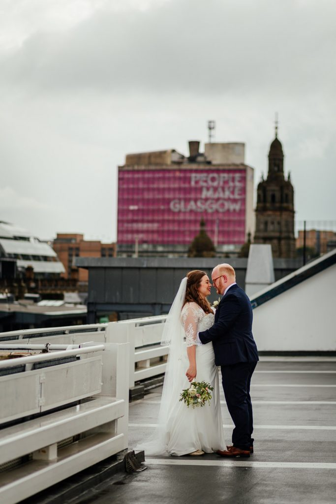 bride groom glasgow city centre wedding portraits photos car park glassford street