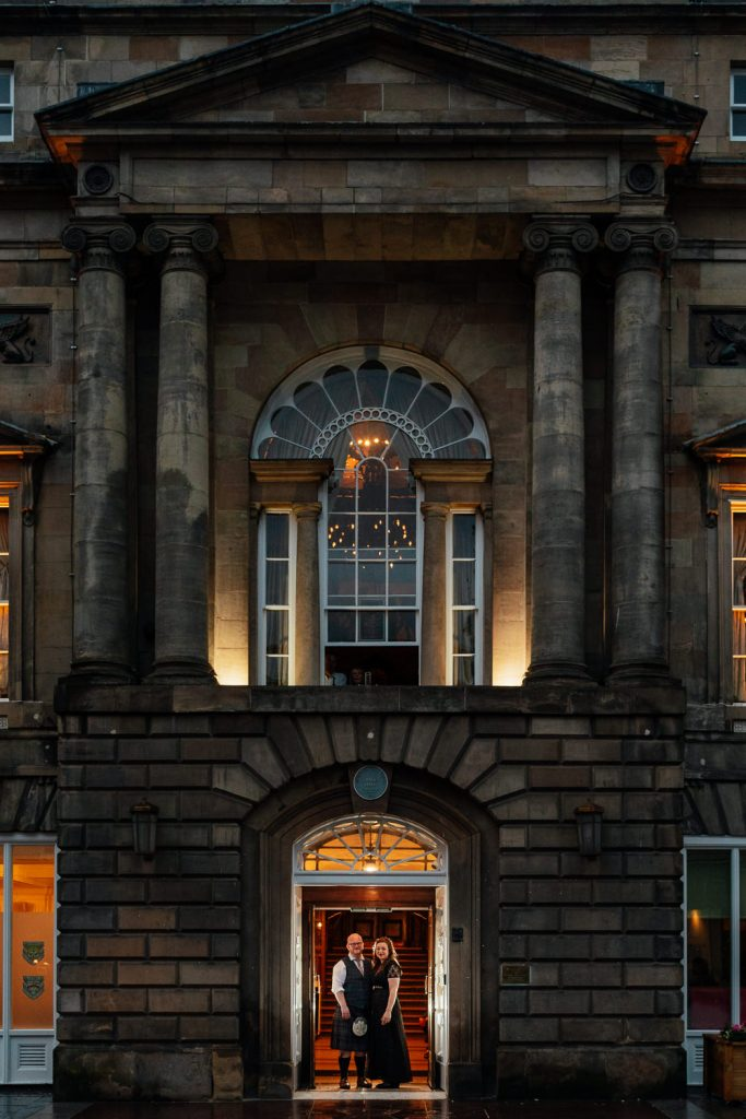 bride groom glasgow city centre wedding portraits photos trades hall evening night
