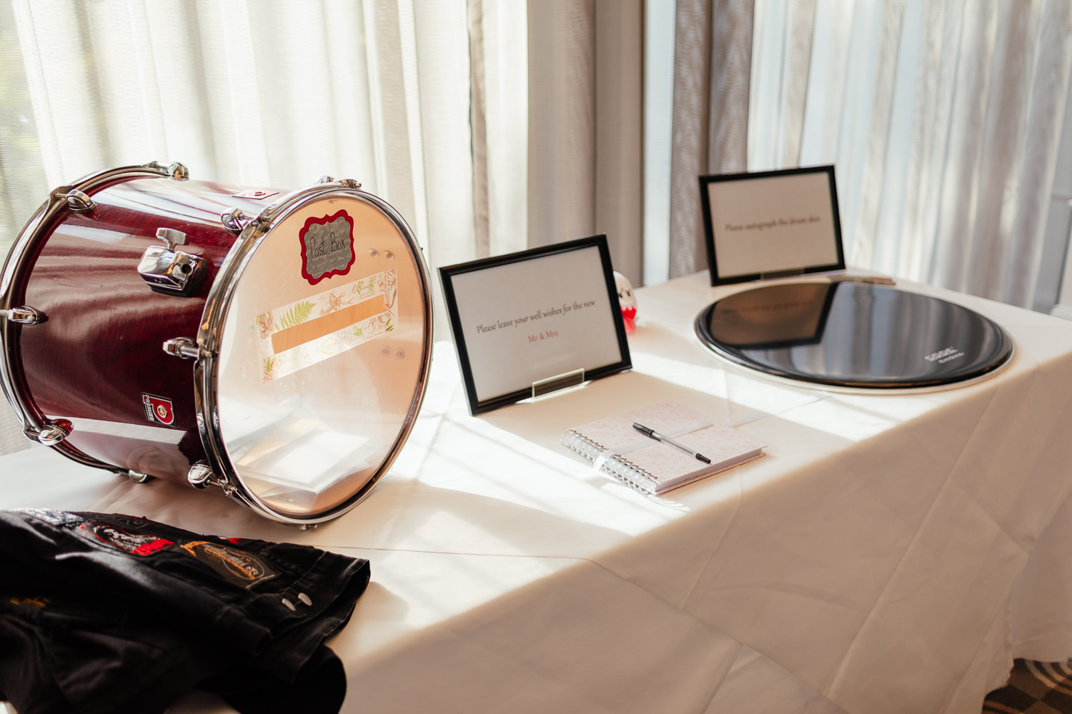 rock music wedding drumskin guestbook drum card box chester hotel wedding aberdeen