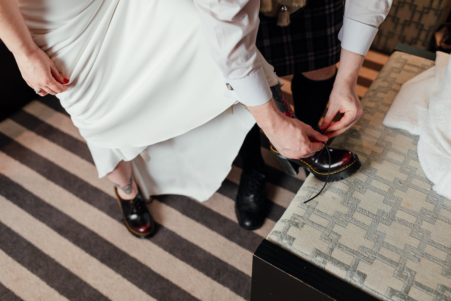 rock wedding doc martens bridal shoes red chunky heels