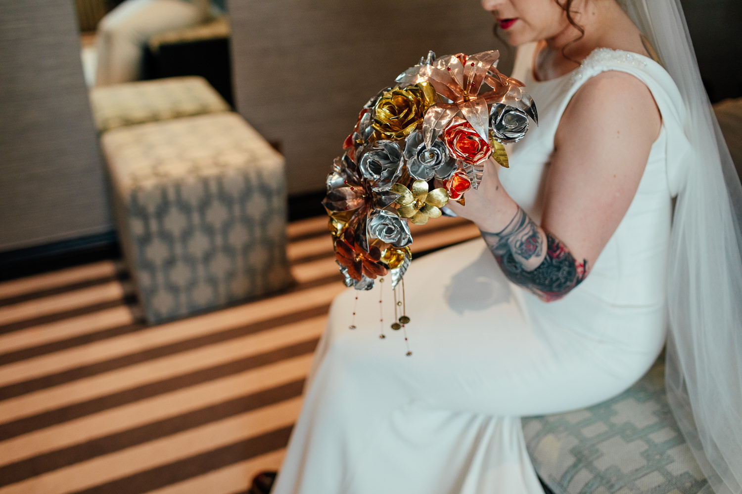 rock wedding metal flowers bridal bouquet