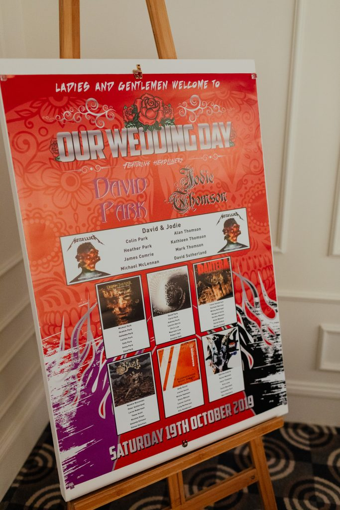 rock music wedding seating plan album covers chester hotel wedding aberdeen