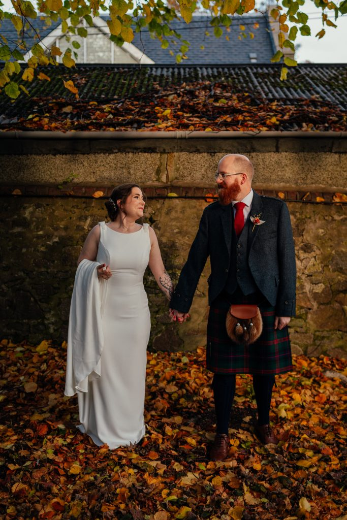 Chester Hotel Wedding Aberdeen Autumn Colours Bride Groom portrait Photo