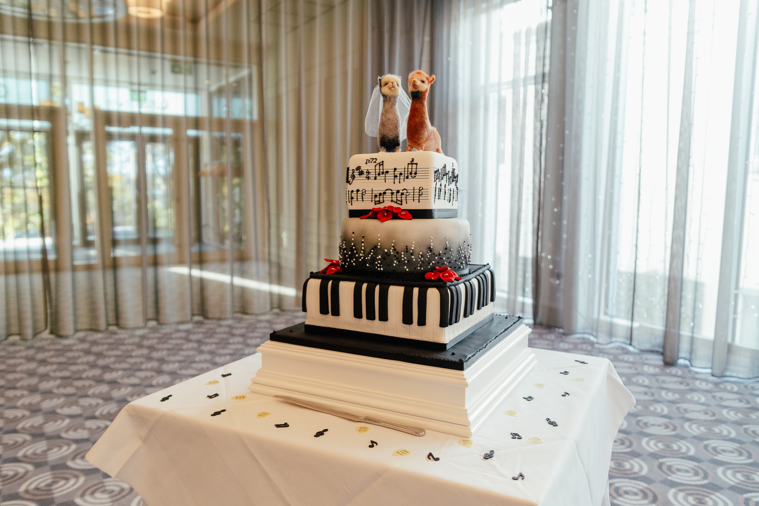 rock music wedding llama rammstein music piano cake chester hotel wedding aberdeen