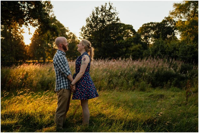 Glasgow engagement shoot golden hour west end