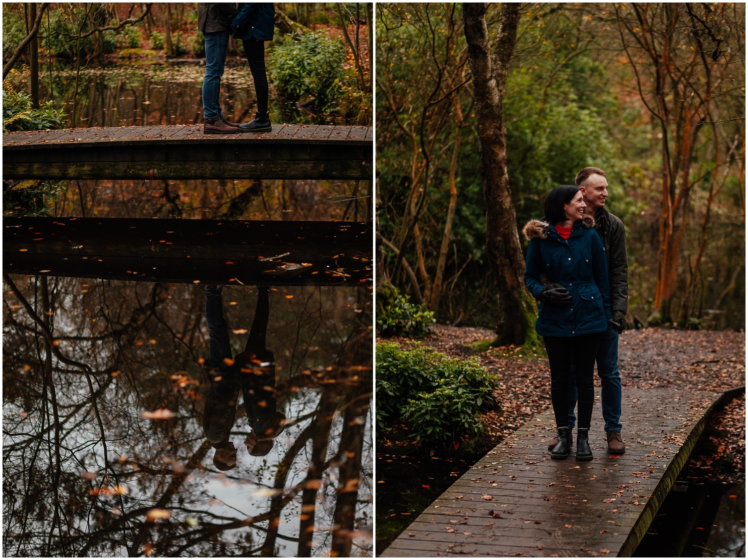 Couple in Pollok Park in Autumnstanding on bridge over pond couples shoot engagement shoot