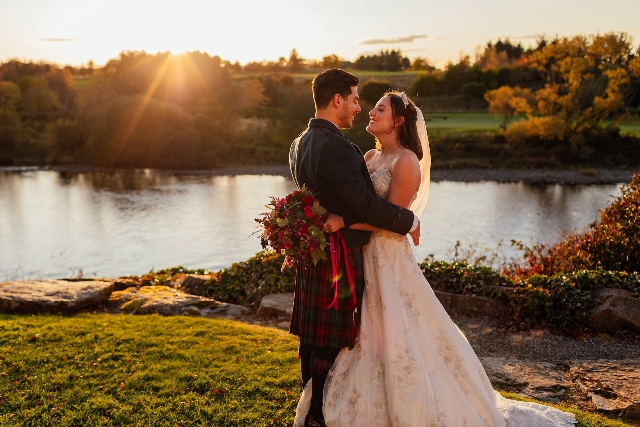 maryculter house hotel aberdeenshire wedding bride groom portraits outdoors river dee sunset october