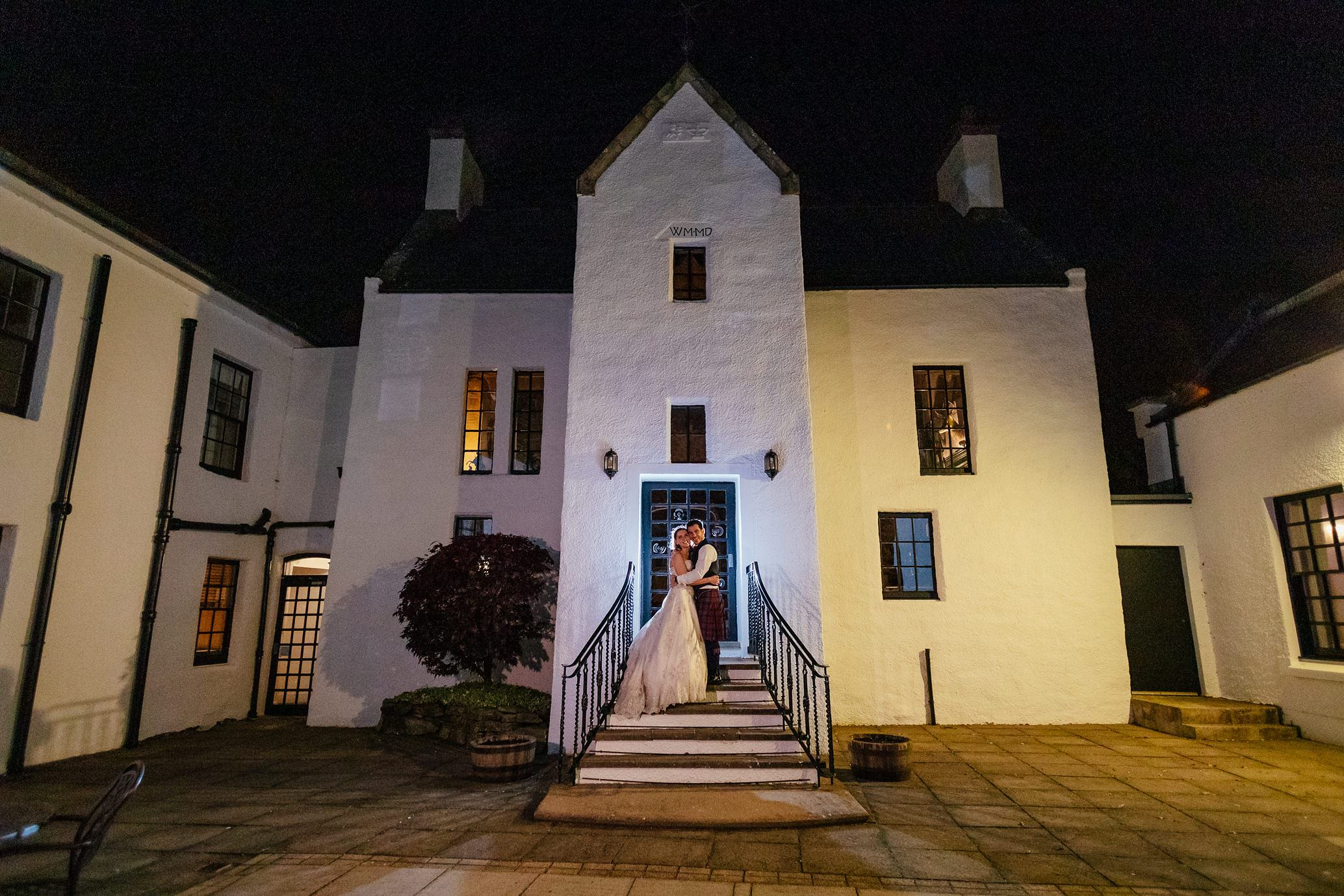 maryculter house hotel aberdeenshire wedding bride groom portrait evening outdoors