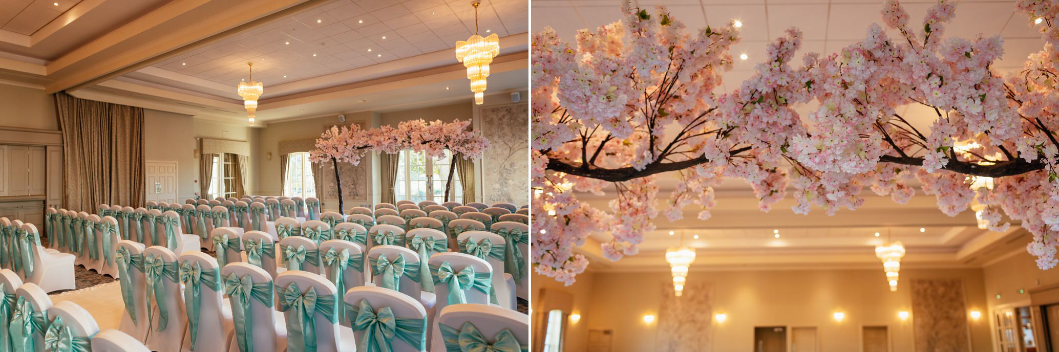 maryculter house hotel aberdeenshire wedding venue interior ballroom sunny october decorated with chair covers and cherry blossom trees