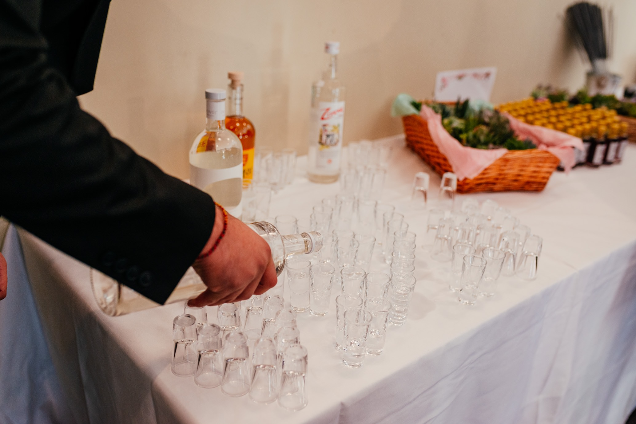 maryculter house hotel aberdeenshire wedding pre ceremony shot table alcoholic wedding favours