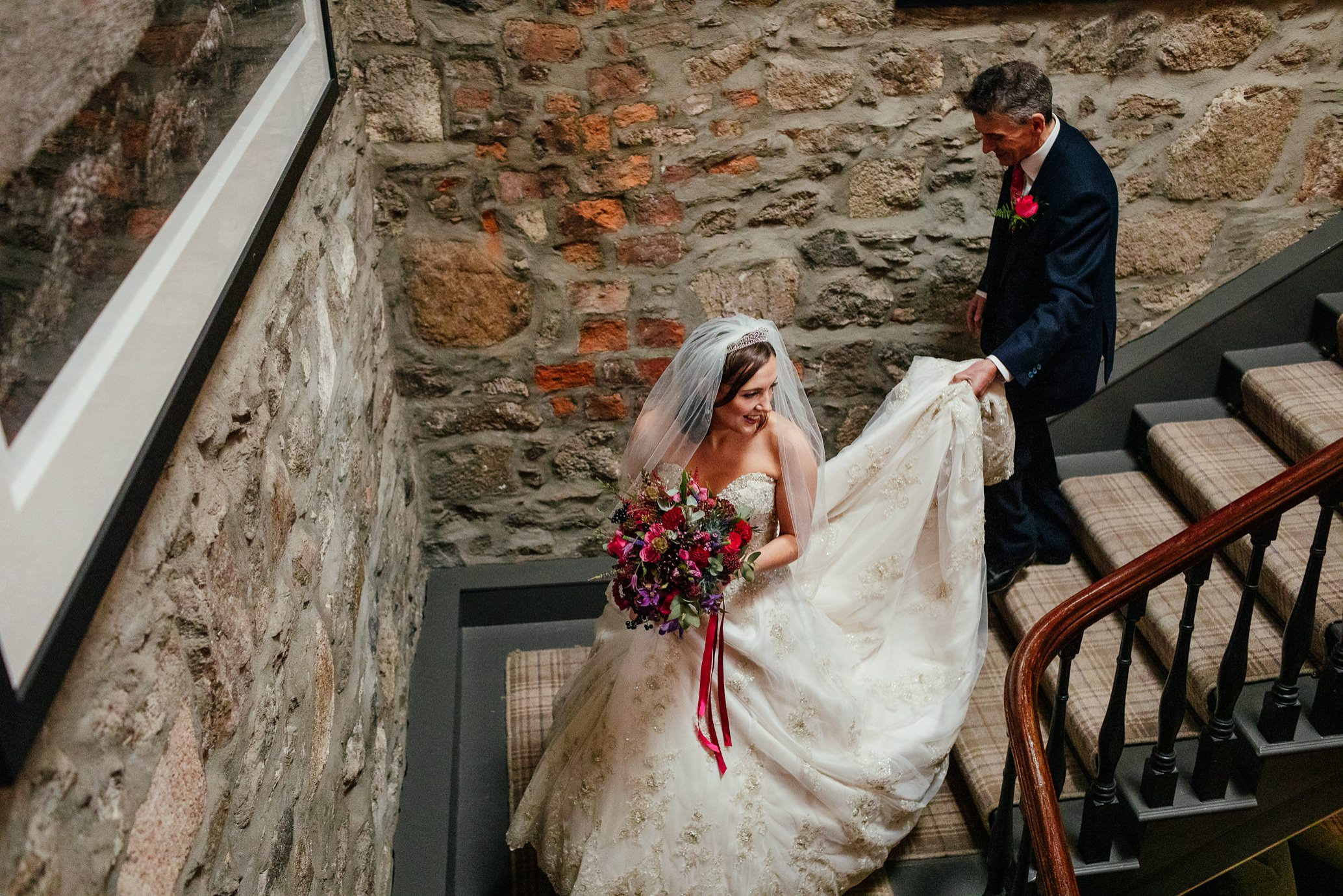 maryculter house hotel aberdeenshire wedding bride walking down staircase to ceremony