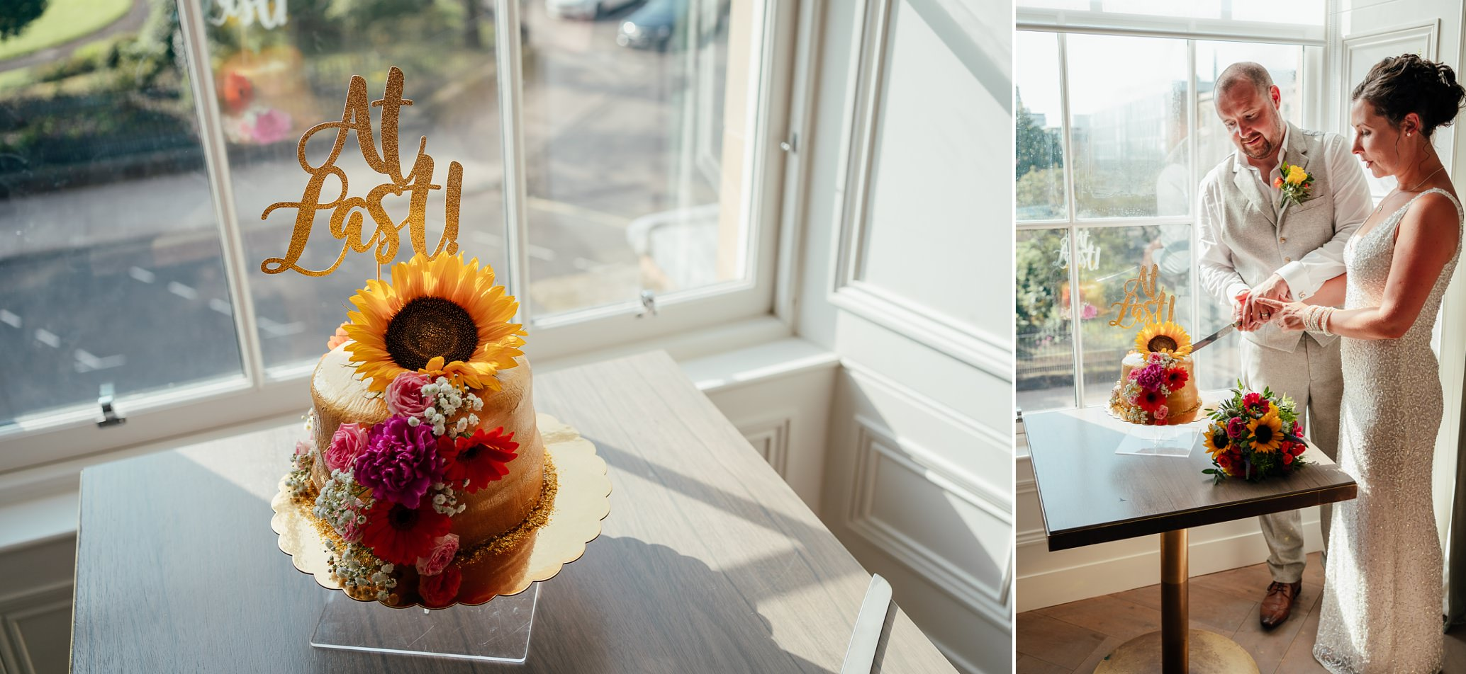 blythswood square glasgow private gardens wedding ceremony bride groom cutting cake in private suite at blythswood hotel