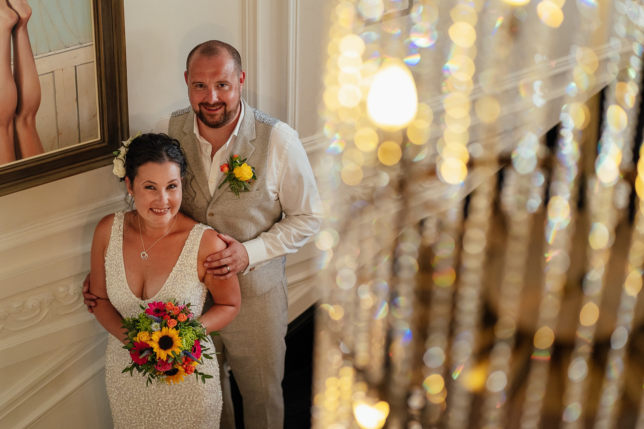 blythswood square glasgow private gardens wedding ceremony bride groom by chandelier at blythswood hotel